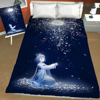 Fancy Anime Girl Printed Adult Teenage Flat Bed Sheets Twin Full Queen King for Single Double Size Bed