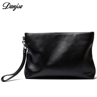 DANJUE High Quality Genuine Leather Clutches For Men Larger Capacity Male Clutch Bag Zipper Mens Wallet Phone Money Card Holder