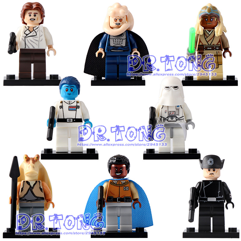 DR.TONG 80pcs PG8050 Han Solo Grand Admiral Thrawn Imperial Snowtrooper  Action Dolls Building Blocks Kids Gifts Toys star wars grand admiral thrawn imperial snowtrooper jar jar binks brikcs action figures building blocks kids gift toys pg8050