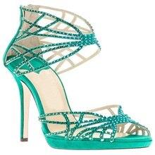 Grün Criss Cross Straps Crystals Schuhe Für Frauen Offene spitze Ankle Wrap Zip Thin High Heels Strass Sommer Party Sandalen Sexy