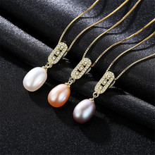 925 Sterling Silver Pendant Necklace For Women Genuine Freshwater Pearl Jewelry 7-8mm Wholesale White Pink Purple