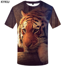 KYKU Tiger Tshirt Women Yellow Animal T-shirt Punk Rock Clothes Forest 3d Print T Shirt Casual Womens Clothing Summer Tops New