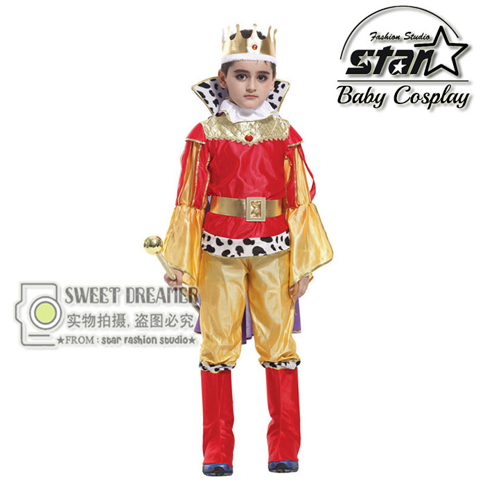 Kids King Costume Halloween Cosplay Children Set Tops Pants Cape Royal Crown Boys Prince Role Play Children Play Games Wear