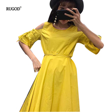 RUGOD 2017 New Fashion Sexy Slim Women's Summer Dress Boot Cut Dress Off The Shoulder Strapless Dress With Sashes Solid Dress