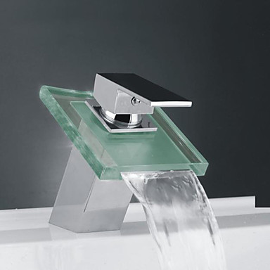 Contemporary Waterfall Tap For Bathroom Sink Faucet -Chrome Finish,Torneira Para De Banheiro Modocomando color changing led waterfall tap for bathroom sink faucet torneira para de banheiro