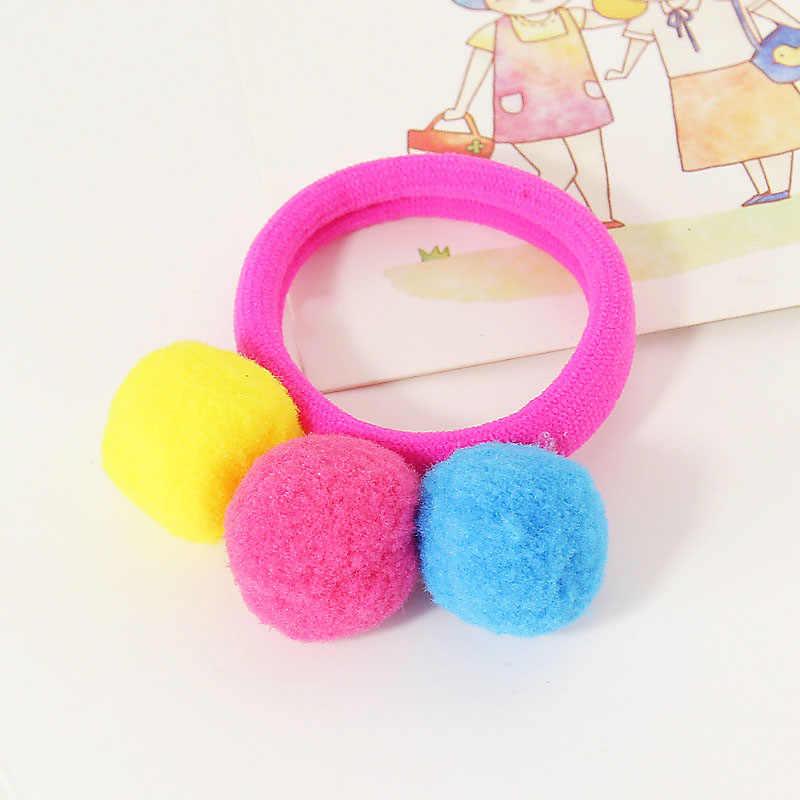 Pelo bola lazo para niña cabeza bebé niño bandas 1 pieza cuerda elástica caramelo accesorios 3 bolas de Color