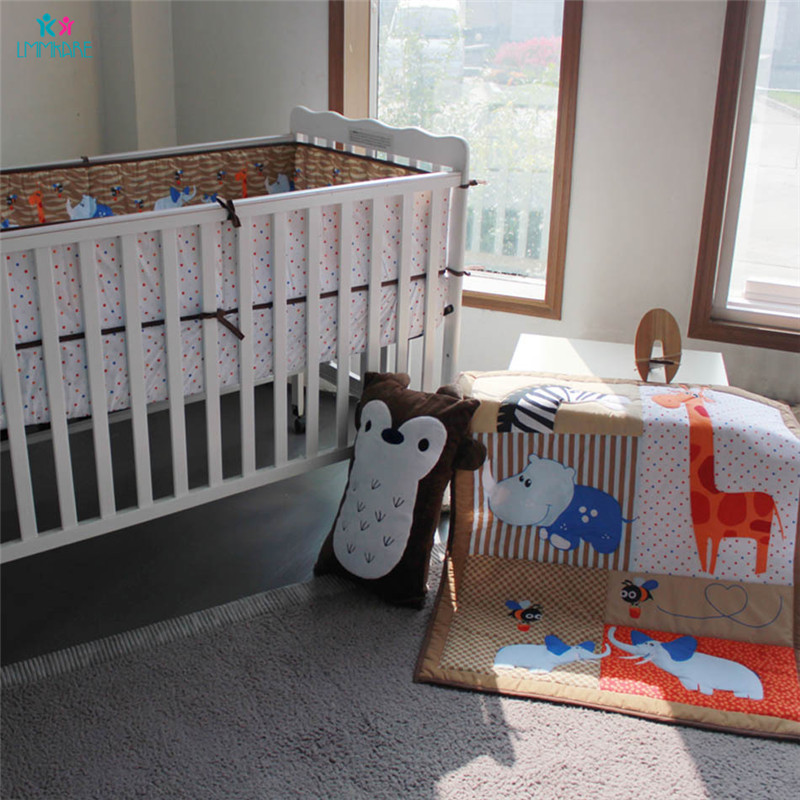 Cotton Baby Bedding Set Cartoon Cute Animal Embroidery Baby Boy's Bed Bumpers Comfortable Breathable Baby Infant Bed Sheet Quilt