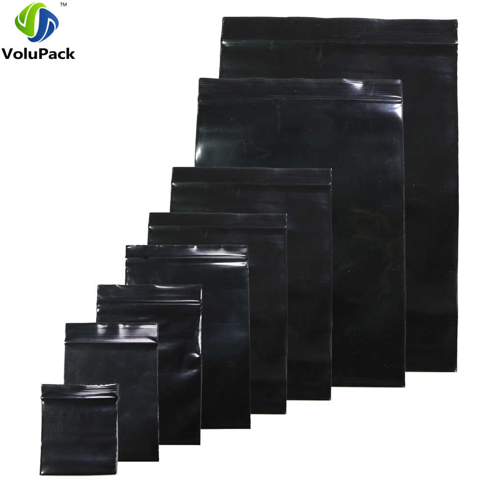 100pcs Multi Sizes Reclosable Poly Ziplock Package Pouches Black Heat Sealing Zip Lock Plastic Storage Bags