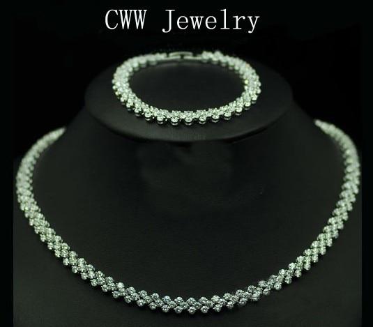 все цены на CWWZircons Fashion Jewelry Sets Silver Color AAA+ Cubic Zirconia Women Chocker Necklace and Bracelet Sets T032 онлайн