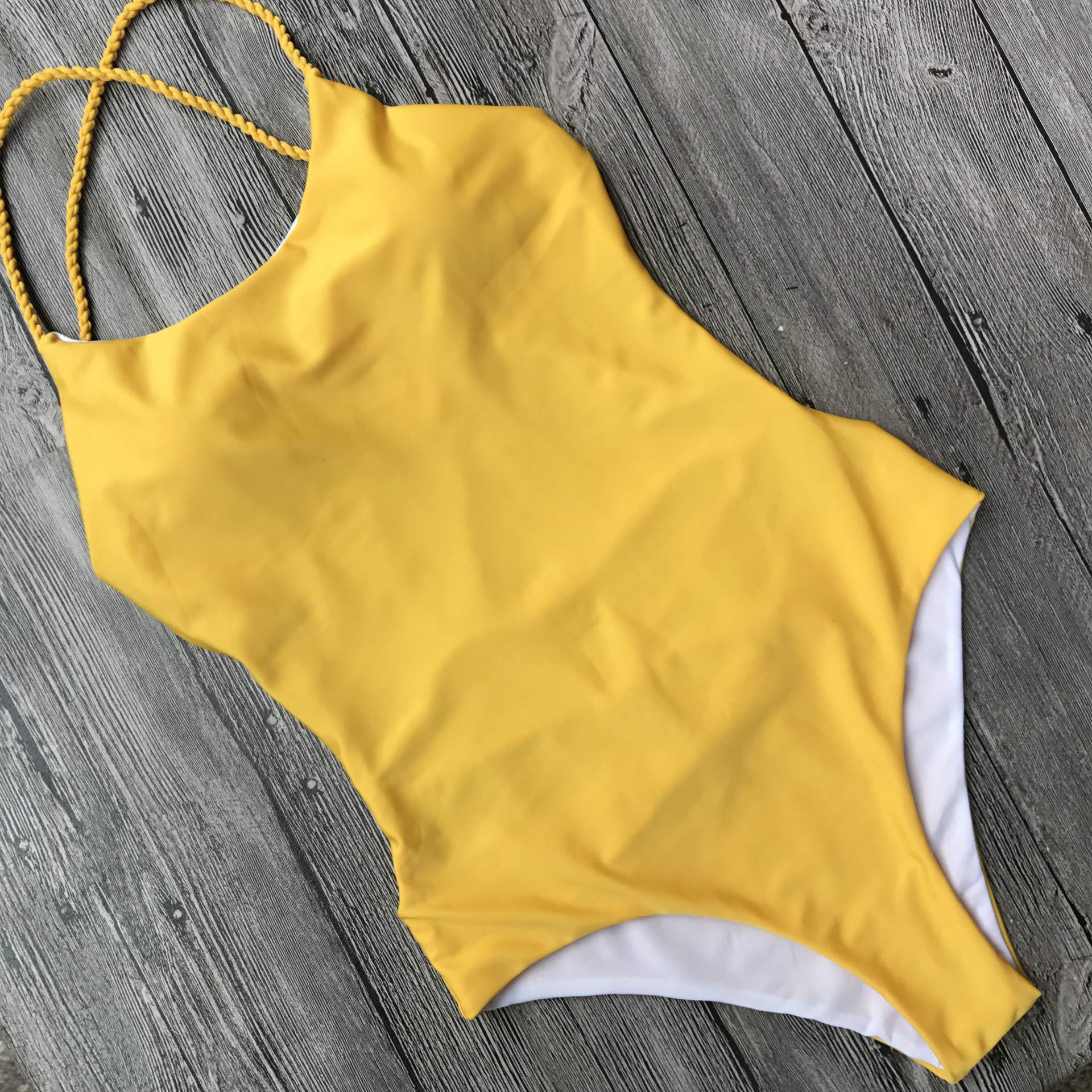 PRYDYC Women 39 s swimsuit solid color push up big backless sexy one piece swimwear high waist high elastic lace bikini in Body Suits from Sports amp Entertainment