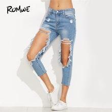 e72372cf2397d ROMWE Extrême En Difficulté Recadrée Jeans Femmes Bleu Cut Out Skinny Denim  Pantalon 2018 Automne Mi Taille Sexy Bouton Fly Casu.