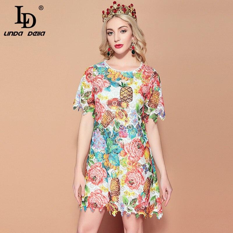 LD LINDA DELLA 2019 Fashion Runway Casual Summer Dress Women s Short Sleeve Multicolor Floral Print