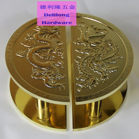 Dragon Phoenix carving patterns luxury brass color door handles 300mm semi circular glass door/wooden door handles-in Door Handles from Home Improvement on ... & Dragon Phoenix carving patterns luxury brass color door handles ...