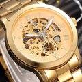 SHENHUA Marca de Luxo Esqueleto Relógio de Pulso Mecânico Ouro Alça Aço Inoxidável Relógio de Moda Masculina Relógio Vento Automático de Auto