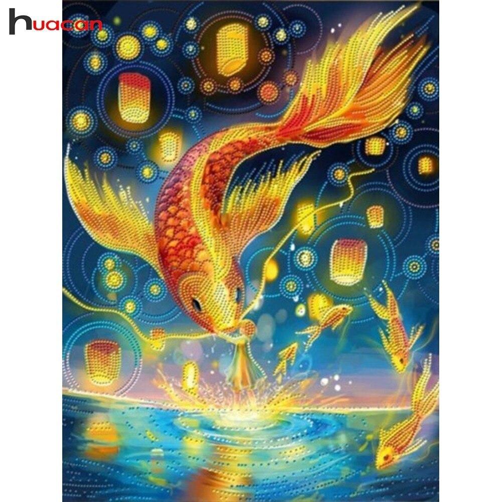 Huacan 5D Diamond Painting Fish Picture With Rhinestones Diamond Mosaic Animal Full Drill Square Craft Diamond Embroidery