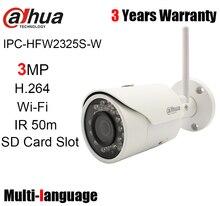 Dahua 3MP wifi IP 카메라 IPC HFW2325S W 야외 50m IR SD 카드 슬롯 무선 총알 네트워크 카메라 교체 IPC HFW1320S W