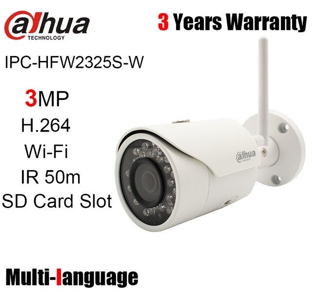Dahua 3MP wifi IP kamera IPC HFW2325S W açık 50m IR SD kart yuvası kablosuz bullet ağ kamerası değiştirin IPC HFW1320S W