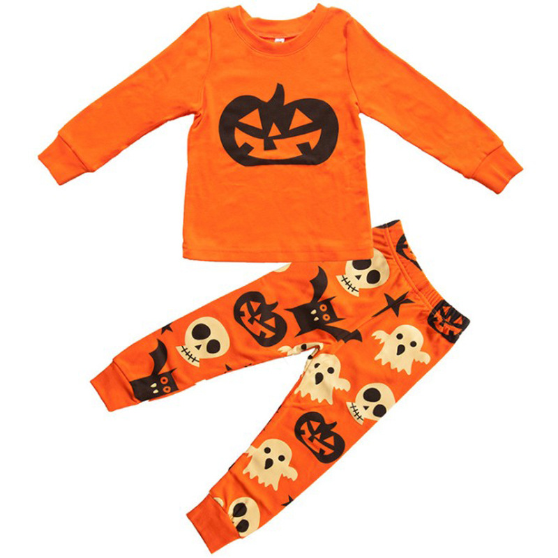 2018 Kids Halloween Set Kids Boy Girl Long Sleeve Cute Pumpkin Print T Shirt Tops Batman Ghost Pants Set Sleepwear Kids Pj's Set 2 7y kids boy girl flag pocket casual long sleeve t shirt tops red white