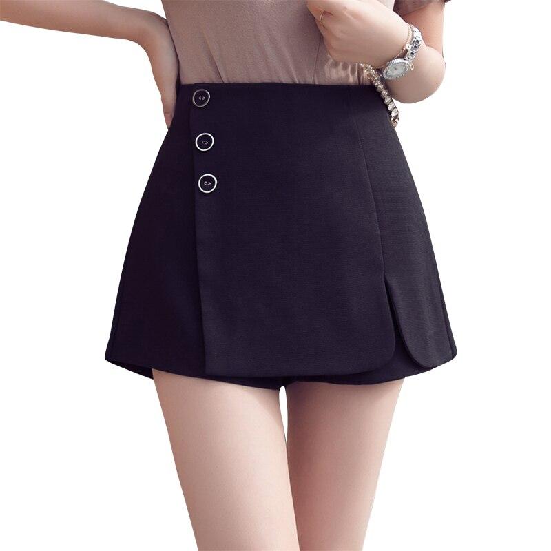 High waist wide leg   short   pants 2018 new a line irregular skirts   shorts   buttons slit hem casual   shorts   for women white   shorts