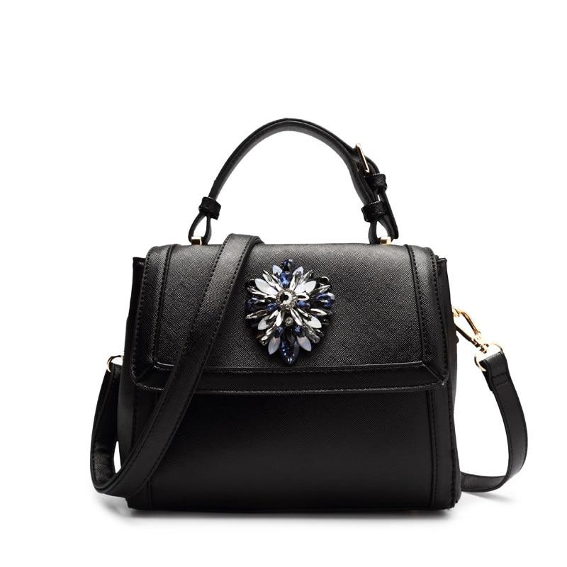 Japan Korean Style Women Small Bag Stylish Rhinestone Inlaid Hand Bag Ladies Classy PU Leather Stylish