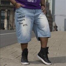 Hip hop trousers baggy jeans short men letter print fashion 2015 new design blue summer calf-length summer jeans big size 30-46