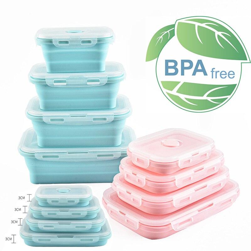 Ev ve Bahçe'ten Öğle Yemeği Kutuları'de Silikon yemek kabı Taşınabilir Kase Renkli Katlanır Gıda Konteyner Lunchbox 350/500/800/1200 ml Çevre Dostu title=