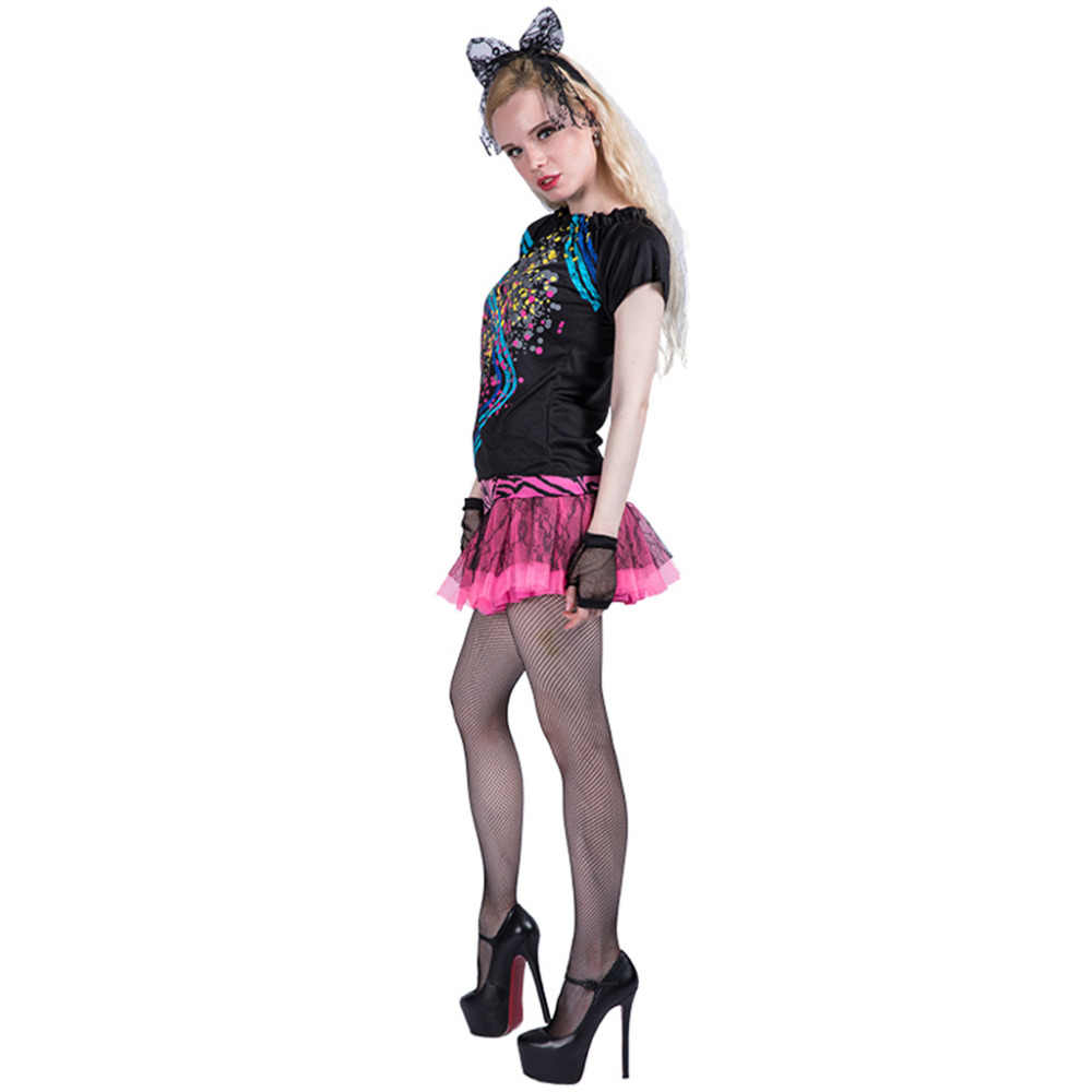 c5e08d1222c ... Women Sexy 80s Girl Costume Dress Adult Female Cosplay Fancy Dress  Outfit Clothing Halloween Costumes ...
