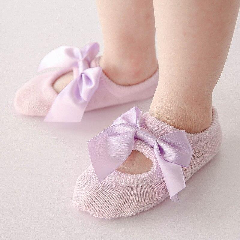 3 Pairs/Set Cotton Newborn Baby Socks For Girl Bebe Toddler Infant Anti Slip Lace Flower Bow Tie Floor Socks Party Birthday Sock