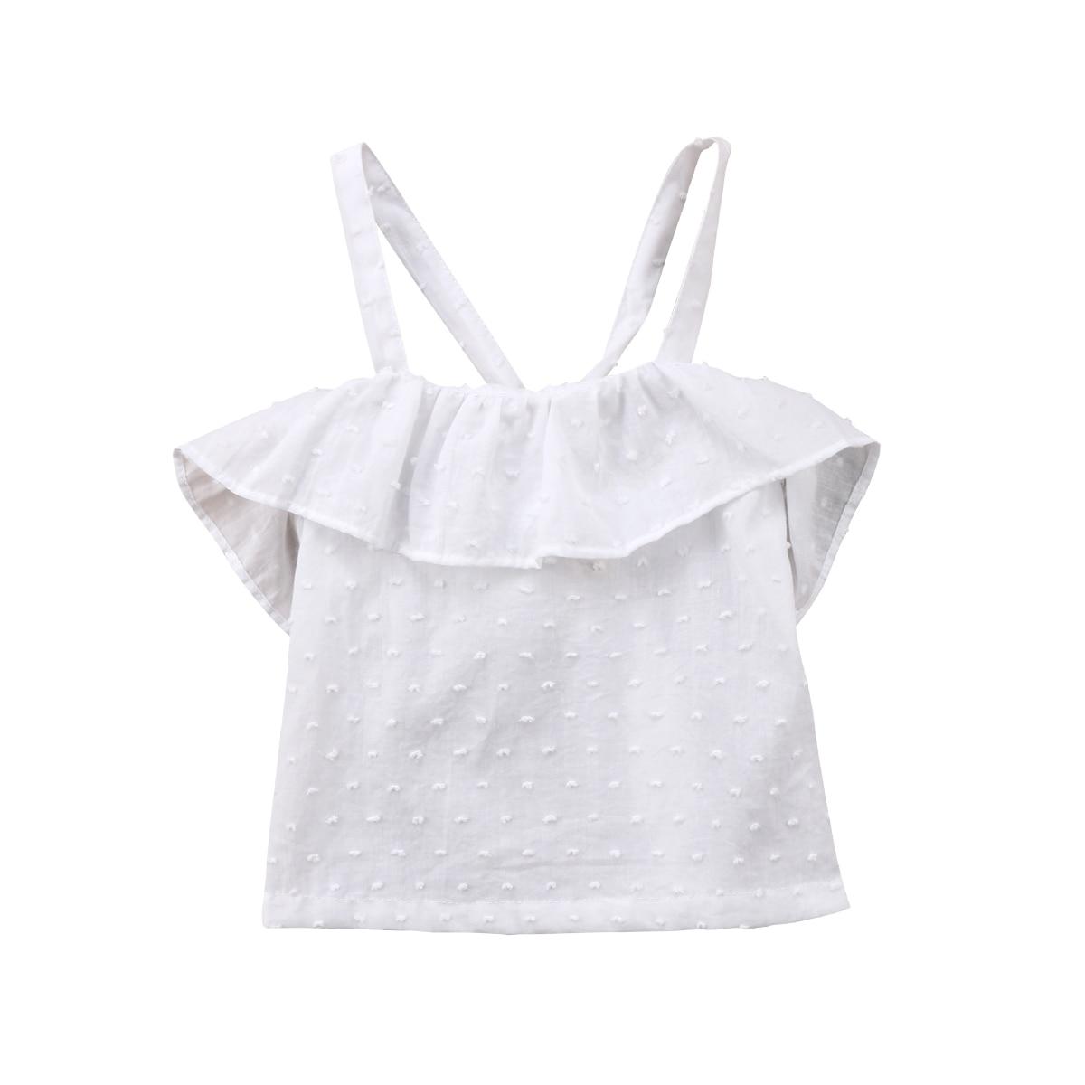 Infant Neugeborenes Baby Mädchen Bluse Weiß Solide Sommer Ärmellose Hemden Tops Bluse 0-24 Mt Taille Und Sehnen StäRken
