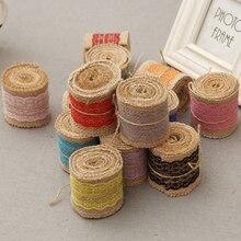 2 M Linen Vintage Burlap Lace Table Runner Handmade DIY Wedding Christmas Decoration Jute Burlap Event Party Supplies