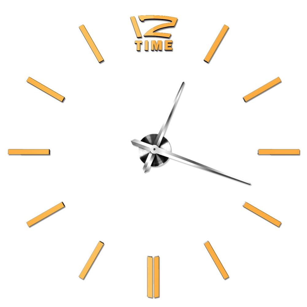 Moda gran reloj de pared moderno DIY 3D espejo etiqueta Decoración para el  hogar arte 870d84664ab6e