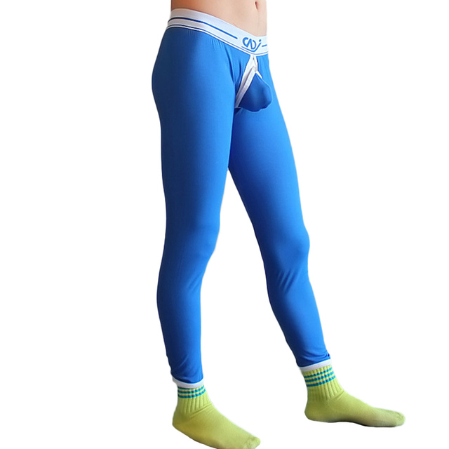 Sexy Men Underwear Sleep Pants Plus Size Comfortable Cotton Slim Keep Warm Erotic Gay Open Butt Leggings Hot Temptation Pants LB
