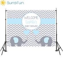 Sunsfun 7x5FT Licht Blau Grau Chevron Wand Elefanten Es Ist Junge Baby Dusche Custom Foto Studio Hintergrund Hintergrund 220x150cm