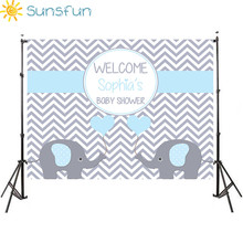 Sunsfun 7x5FT Light Blue Grey Chevron Wall Elephant It Is Boy Baby Shower Custom Photo Studio Backdrop Background 220x150cm