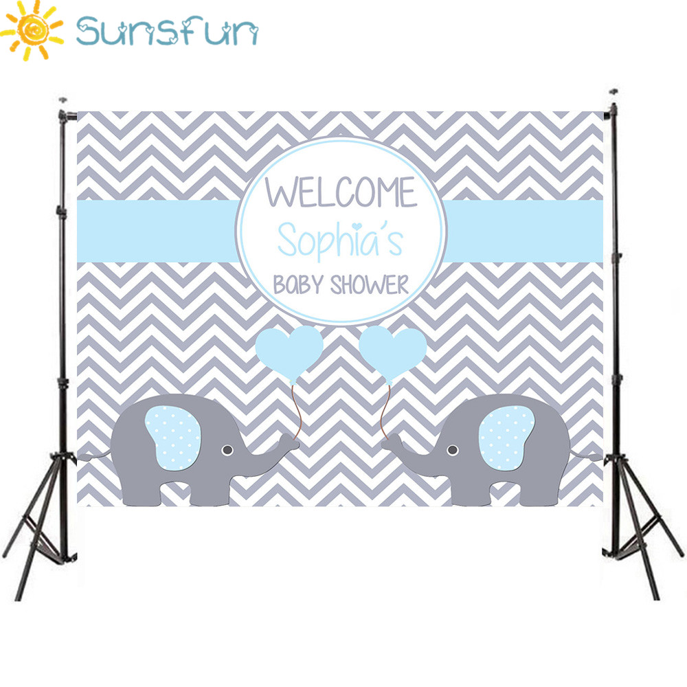 Sunsfun 7x5FT Light Blue Grey Chevron Wall Elephant It Is <font><b>Boy</b></font> <font><b>Baby</b></font> <font><b>Shower</b></font> Custom Photo Studio <font><b>Backdrop</b></font> Background 220x150cm image