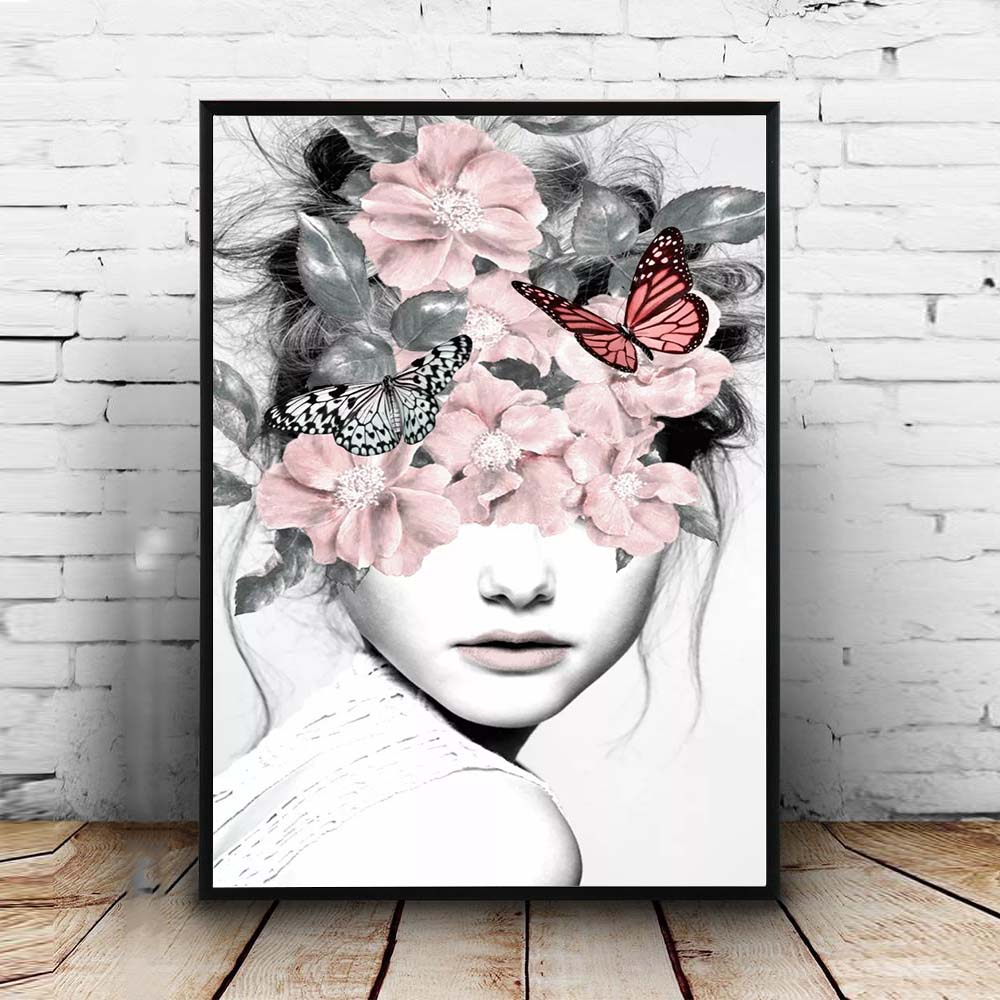Pink Flower Girl Portrait Poster Nordic Canvas Painting Wall Art Posters And Prints Abstract Pictures For Living Room Decoration