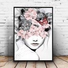 Розовый цветок девушка портрет плакат Nordic холст роспись стены книги по искусству плакаты и принты абстрактные картины для гостиная украшения