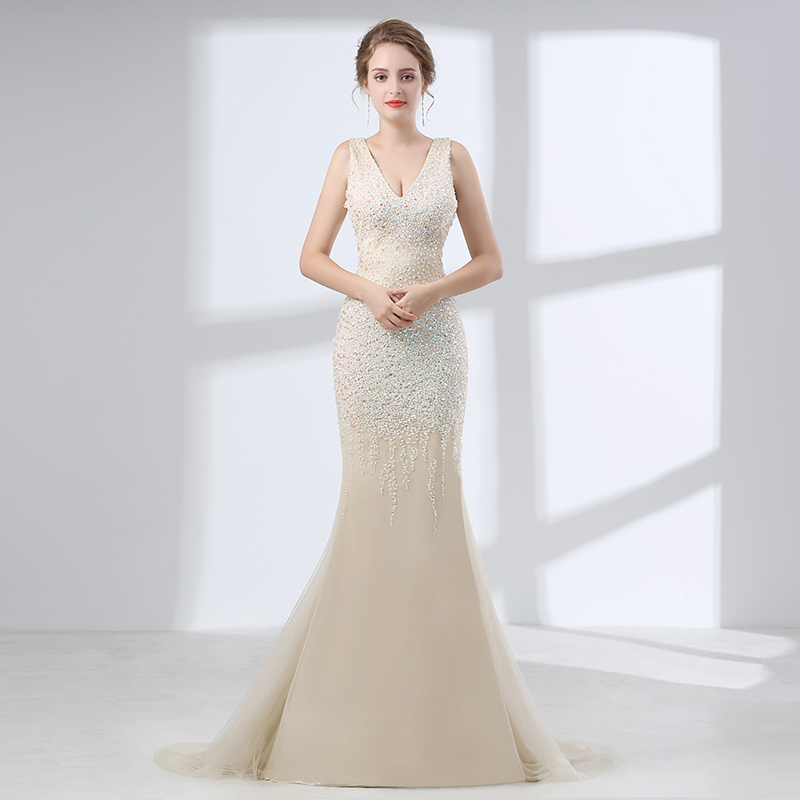 Champagne 2018 Prom Dresses Mermaid V Neck Tulle Beaded Crystals