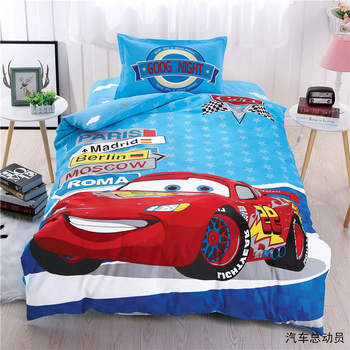 Lightning mcqueen car bedding set twin size duvet cover for kids bedroom decor cotton bed sheet home textile single children boy