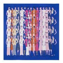 100% Twill Silk Scarf Les Sportives Print Neckerchief Fashion Clebrities Lady Square Scarf Luxury Brand Hand Rolled Bandana