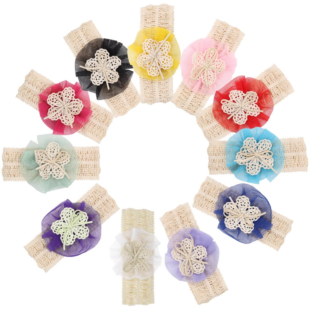Fashion floral Hairbands Girls Hot Selling Kids Flower Headband Lace Bow Hairband Flower Headbands