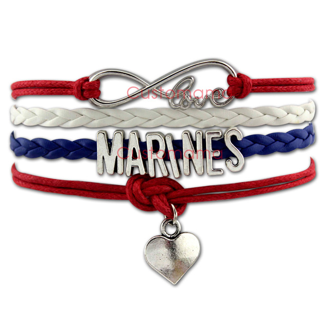 Custom Infinity Love Marines Heart Charm Bracelet Gift For Marine Corps Red Blue White
