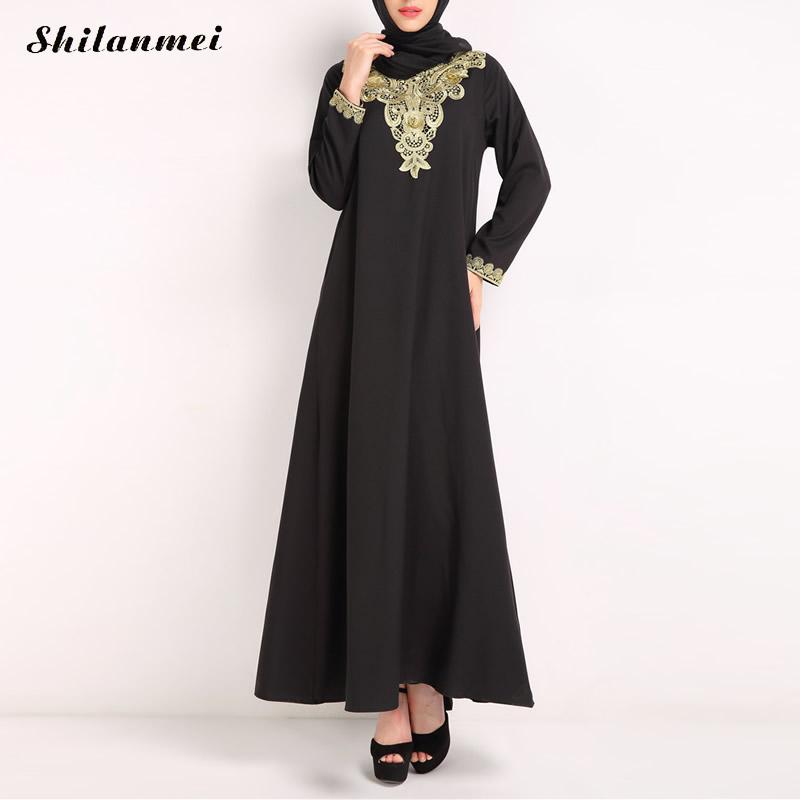 Muslim Women Long Sleeve Hijab Dress Maxi Abaya Jalabiya -3380