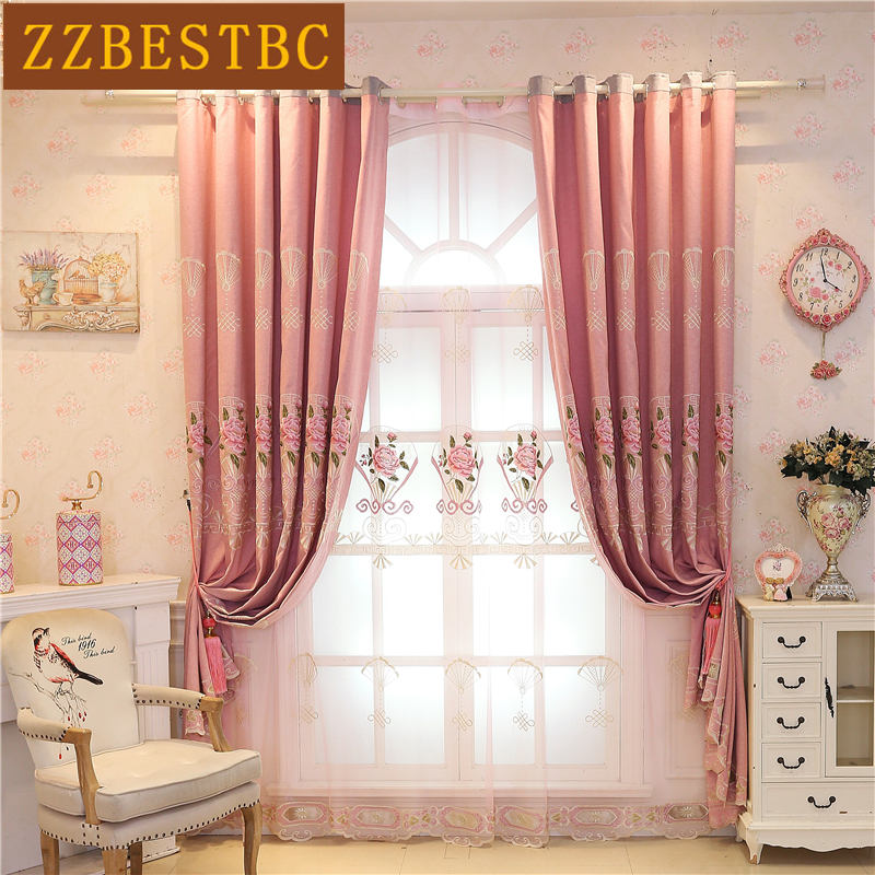 Pink Elegant High Quality Embroidered Villa Curtains For