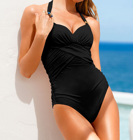 Women Sexy Backless One Piece Monokini Halter Pad Swimsuits High Waist Swimwear