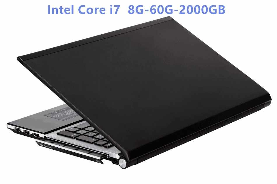 إنتل كور i7 HD الرسومات دفتر 8 جيجابايت رام + 60 جيجابايت SSD + 2000 جيجابايت HDD الألعاب المحمول ويندوز 10 دفتر المدمج في بلوتوث DVD-RW
