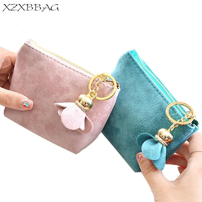XZXBBAG Fashion Flowers Women Coin Purse Female Zipper Small Wallet Girl Change Purse Key Chain Money Bag Mini Zero Wallet XB103