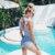 PLAVKY 2019 סקסי נקבה רטרו V צוואר כחול פסים בגד ים חתיכה אחת פרע Push Up מרופד גבוה מותן בגדי ים נשים monokini