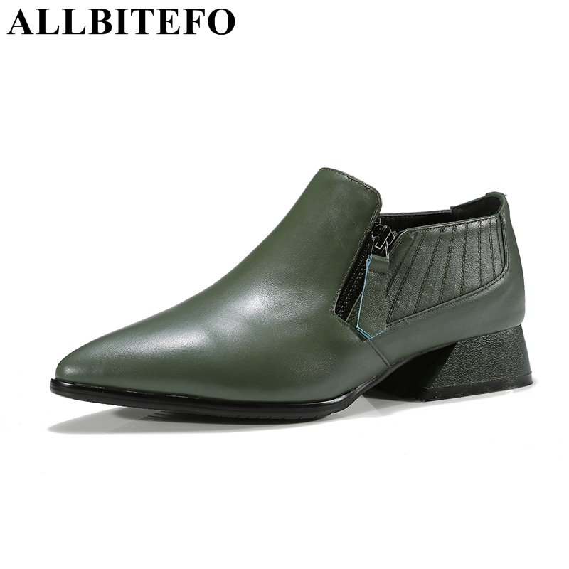 ALLBITEFO new spring genuien leather pointed toe thick heel women pumps fashion high quality girls high heel shoes high heels wholesale lttl new spring summer high heels shoes stiletto heel flock pointed toe sandals fashion ankle straps women party shoes