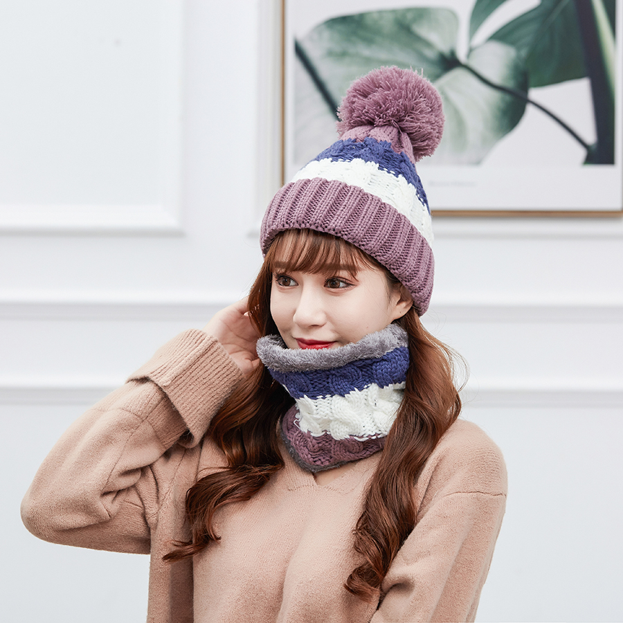 Winter Warm Pom Poms Wool Hat And Scarf Set For Women Rainbow Striped Knitted Windproof Hats Scarf Set Women Beanie Hat Skullies